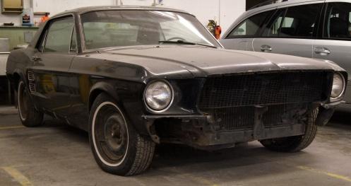 1967 Mustang at shop